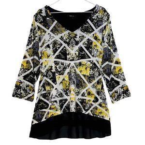STYLE & CO. Blouse gold black white high low
